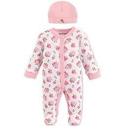 Luvable Friends® Preemie 2-Piece Sleep n Play Floral Footie and Cap Set in Pink