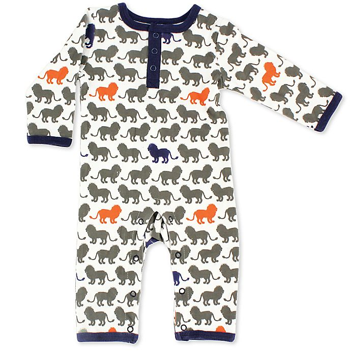 Alternate image 1 for Yoga Sprout Size 3-6M Lion Union Suit in Grey