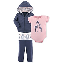 Yoga Sprout 3-Piece Giraffe Jacket, Bodysuit, and Pant Set in Blue