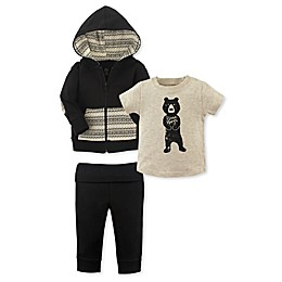 Yoga Sprout 3-Piece Bear Hugs Hoodie, Bodysuit and Pant Set in Black/Beige