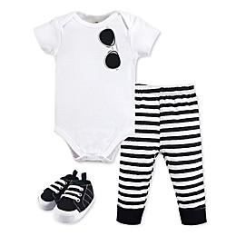 Little Treasure 3-Piece Sunglasses Bodysuit, Pant and Shoe Set in Black