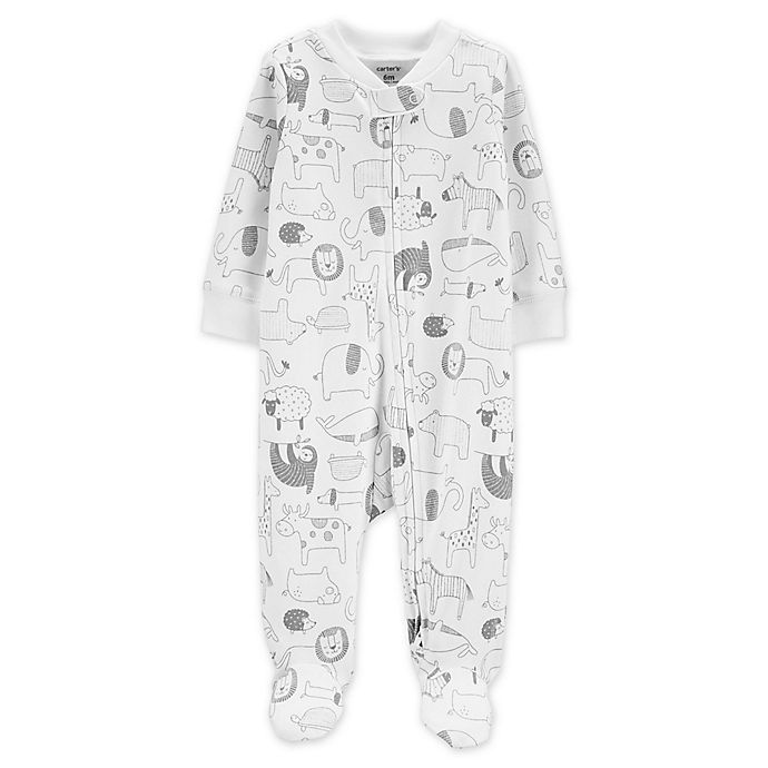 Alternate image 1 for carter's® Size 9M  Zip-Front Animals Sleep & Play Footie