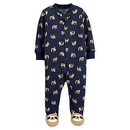 carter's® Size 3M Zip-Front Sloth Sleep & Play Footie in Navy