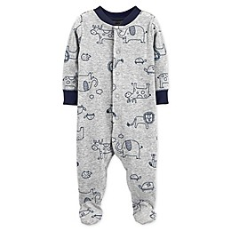 carter's® Snap-Front Animals Sleep & Play Footie in Grey