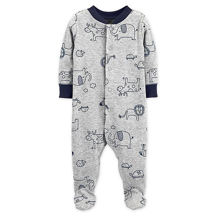 Alternate image 1 for carter's® Snap-Front Animals Sleep & Play Footie in Grey