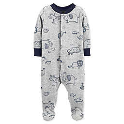 carter's® Size 9M Snap-Front Animals Sleep & Play Footie in Grey