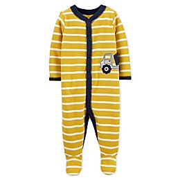 carter's® Snap-Front Construction Truck Sleep & Play Footie in Yellow