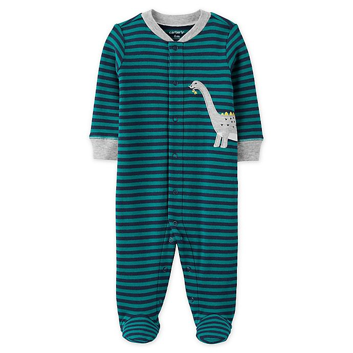 Alternate image 1 for carter's® Dinosaur Snap-Front Sleep & Play Footie in Stripe