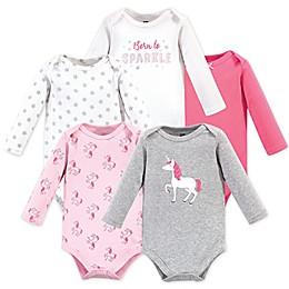 Hudson Baby® 5-Pack Unicorn Long Sleeve bodysuits in Grey