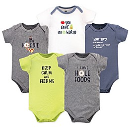 Hudson Baby® 5-Pack Food Short Sleeve Bodysuits in Green