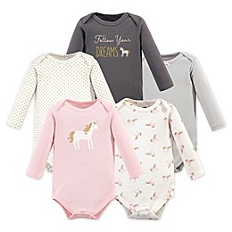 Hudson Baby® 5-Pack Gold Unicorn Long Sleeve Bodysuits in Pink