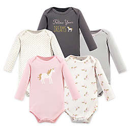 Hudson Baby® Size 18-24M 5-Pack Gold Unicorn Long Sleeve Bodysuits in Pink