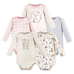 Hudson Baby® 5-Pack Enchanted Forest Long Sleeve Bodysuits in Pink