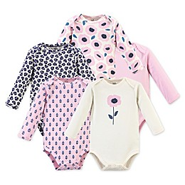 Touched by Nature 5-Pack Blossom Long Sleeve Organic Cotton Bodysuits in Pink