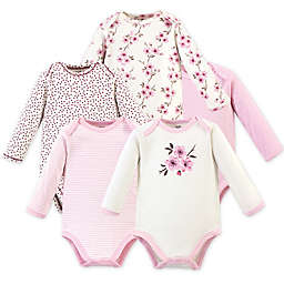 Touched by Nature Size 6-9M 5-Pack Sweet Blooms Long Sleeve Organic Cotton Bodysuits in Pink