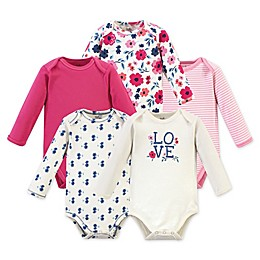 Touched by Nature 5-Pack Love Floral Long Sleeve Organic Cotton Bodysuits in Pink
