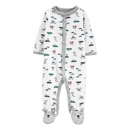 carter's® Preemie Dogs and Cars Footie in White