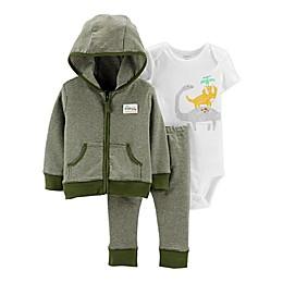 carter's® Preemie 3-Piece Dinosaur Bodysuit, Jacket, and Pant Set in Olive