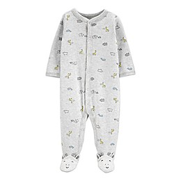 carter's® Preemie Snap-Front Hedgehog Sleep & Play Footie in Grey