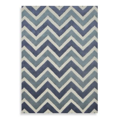 Whitman Wool Chevron Woven Rug In Ibiza Blue Bed Bath