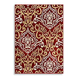 Home Dynamix Westwood Damask 2'4 x 4'11 Runner in Red