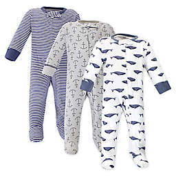 Touched by Nature 3-Pack Whale Organic Cotton Sleep 'N Plays in Blue