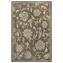 Westwood Floral Washable Accent Rug in Taupe
