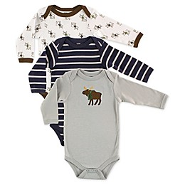 Hudson Baby® 3-Pack Moose Long Sleeve Toddler Bodysuits
