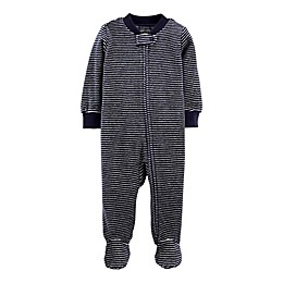 carter's® Preemie Stripe Velour Footie in Blue