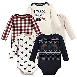 Little Treasure 5-Pack Moose Sweater Long Sleeve Bodysuits
