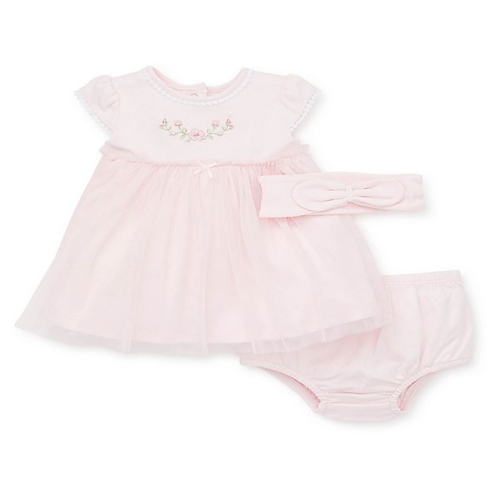Alternate image 1 for Little Me® 3-Piece Blossom Dress, Headband, and Panty Set in Pink