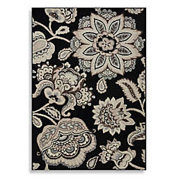 Westwood Floral Accent Rug in Black