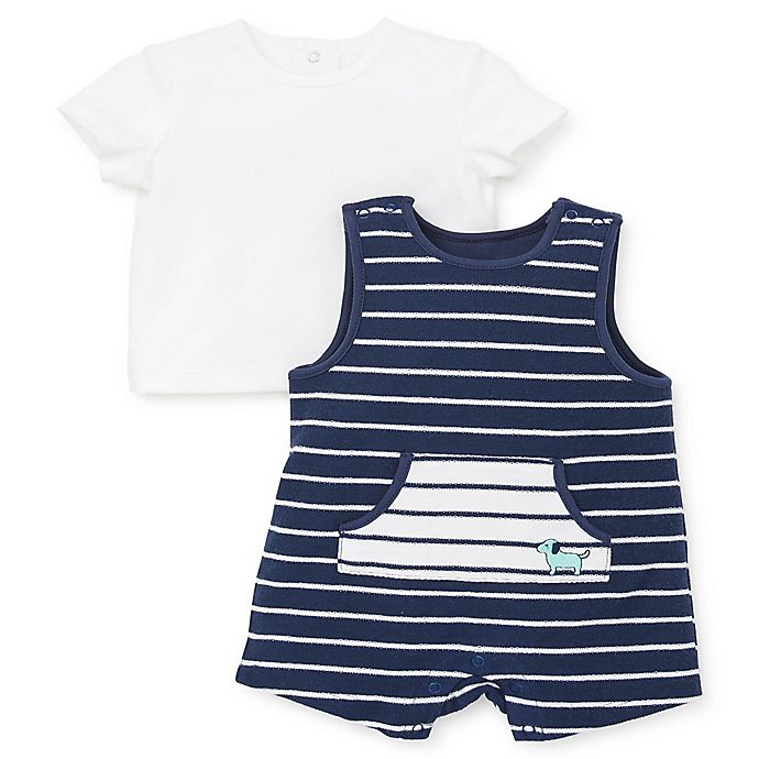 Alternate image 1 for Little Me® 2-Piece Puppy Stripe Shirt and Shortall Set in Blue