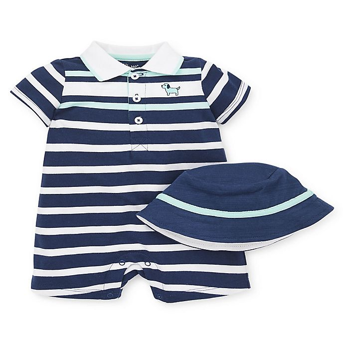 Alternate image 1 for Little Me® 2-Piece Puppy Stripe Romper and Hat Set in Blue