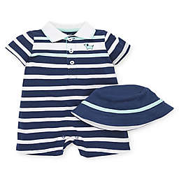 Little Me® 2-Piece Puppy Stripe Romper and Hat Set in Blue