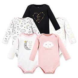 Hudson Baby® 5-Pack Dreamer Long Sleeve Bodysuits in Black