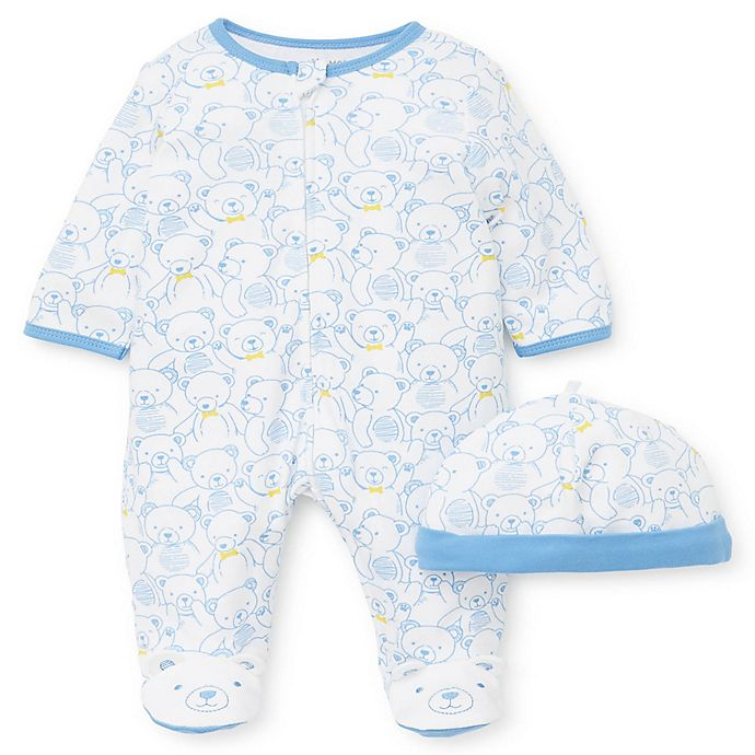 Alternate image 1 for Little Me® 2-Piece Teddy Bears Footie and Hat Set in Blue