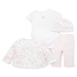 Little Me® 4-Piece Garden Bodysuit, Leggings, Tunic, and Hat Set in Pink