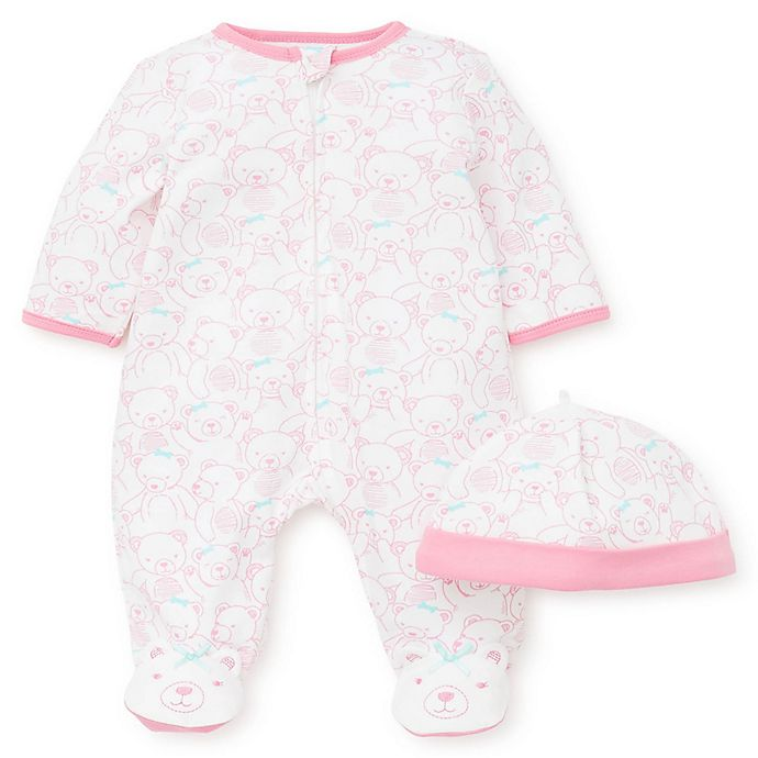Alternate image 1 for Little Me® 2-Piece Teddy Bears Footie and Hat Set in Pink