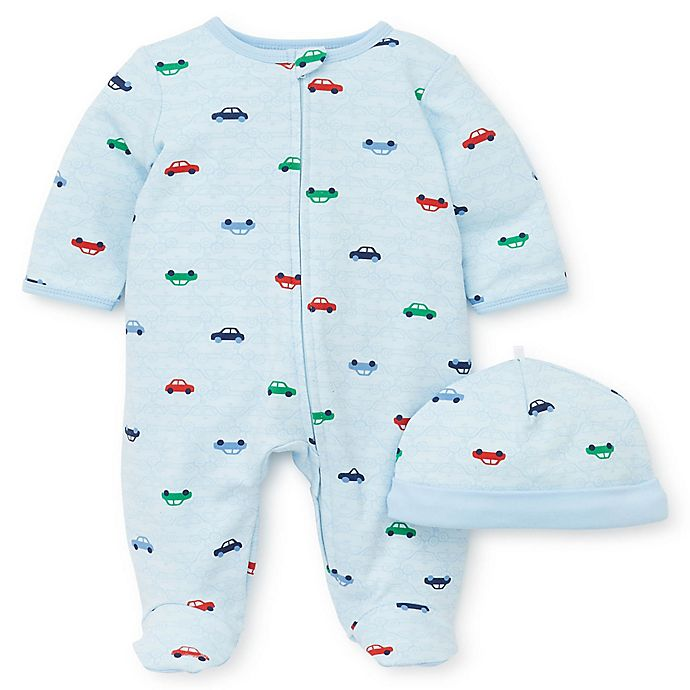 Alternate image 1 for Little Me® Size 9M 2-Piece Colorful Cars Footie and Hat Set in Blue