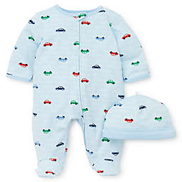 Little Me® Size 9M 2-Piece Colorful Cars Footie and Hat Set in Blue