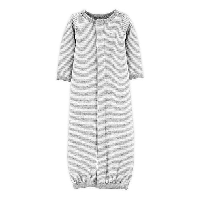 Alternate image 1 for carter's® Preemie Stripe Sleep Gown in Grey