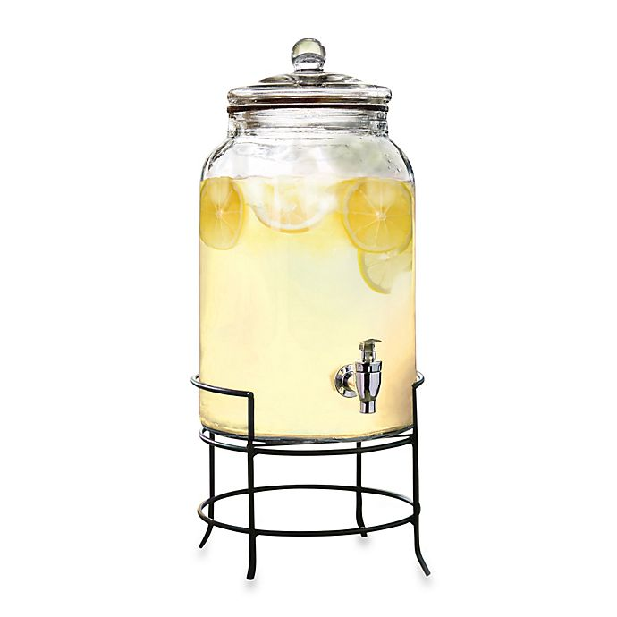 0de779dc636 2.75-Gallon Glass Beverage Dispenser with Metal Stand