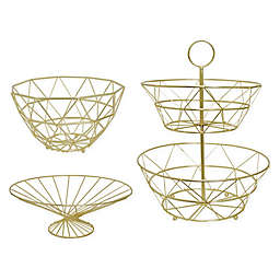 Home Collection Metal Fruit Basket Collection in Yellow/Gold