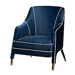 Baxton Studio Nikki Velvet Arm Chair in Navy Blue