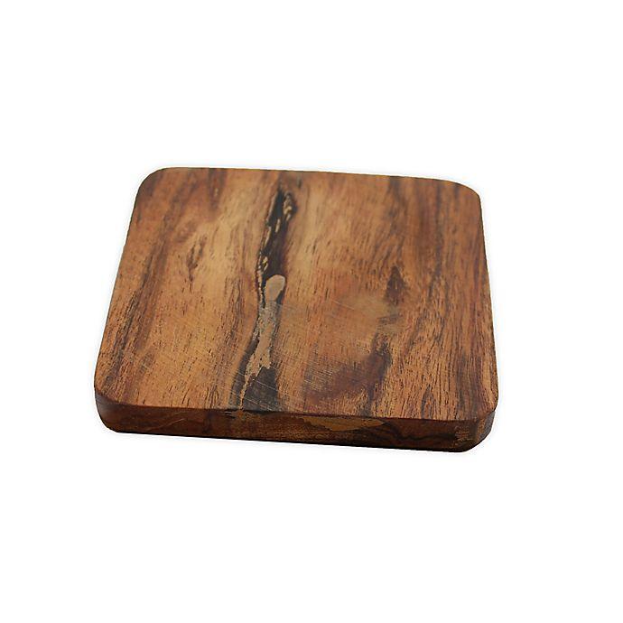Alternate image 1 for Jodhpuri™ Acacia Wood Square Coasters (Set of 4)