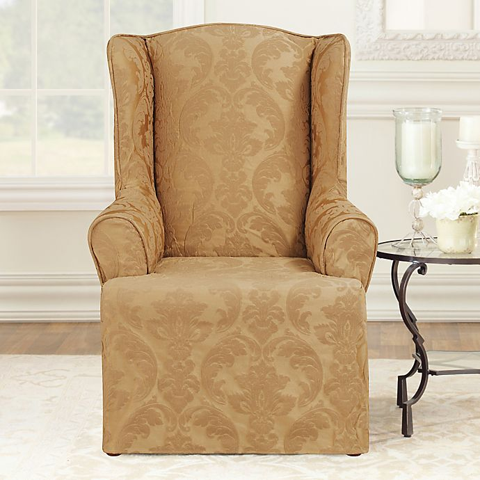 Incredible Sure Fit Matelasse Damask Wingback Chair Slipcover Bed Machost Co Dining Chair Design Ideas Machostcouk