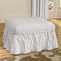 Sure Fit® Matelasse Damask Ottoman Cover in White