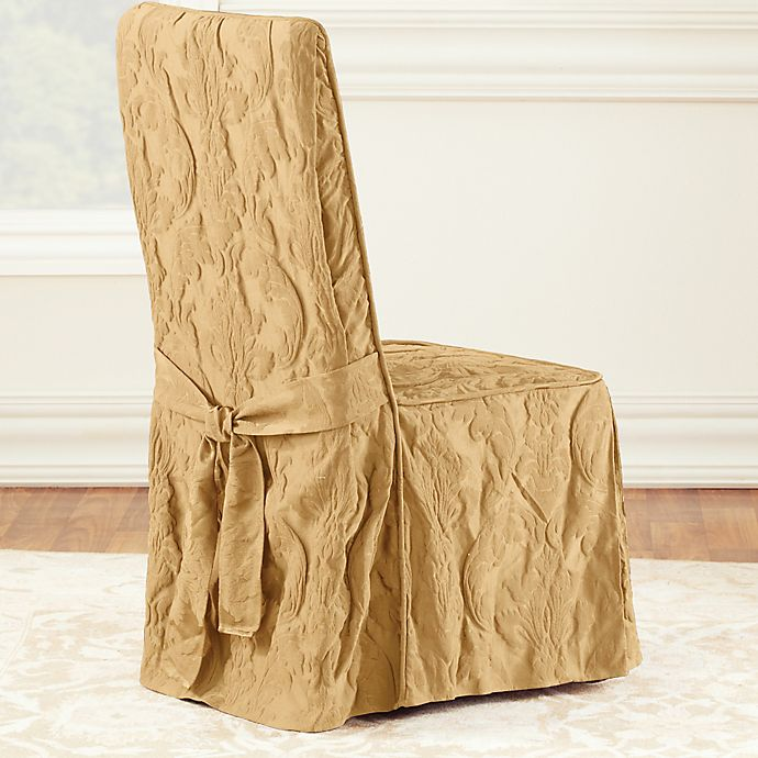 Alternate image 1 for Sure Fit® Matelasse Damask 1-Piece Long Arm Dining Chair Cover