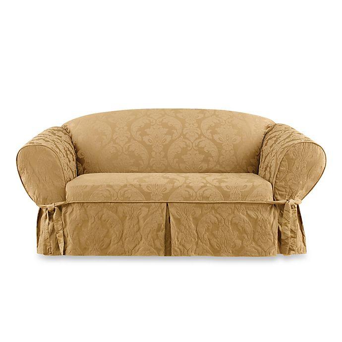 Sure Fit Matelasse Damask 1 Piece Petite Sofa Slipcover Bed Bath